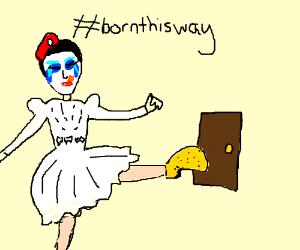 lady gaga in wedding dress kicking a door