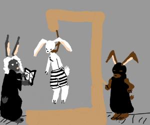 bunny/human hybrid is hanged