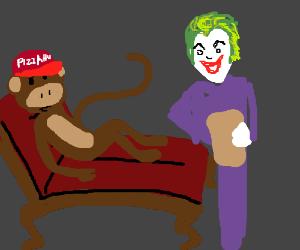 Psychiatrist Joker helps out Pizza Hut monkey