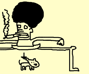 Afro man smoking, gives birth to puppy