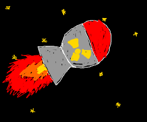 A round, fat rocket in space