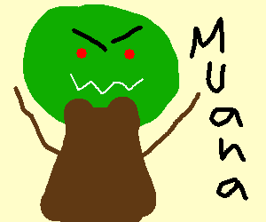 Evil ghost apple tree is laughing evilly