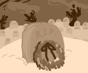 A gravestone in the snow with a wreath