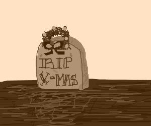 RIP, Christmas wreath on tombstone