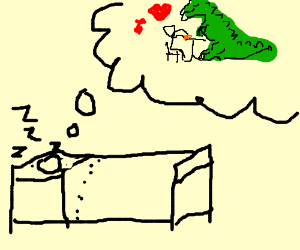 a guy dreaming about dating a green dino