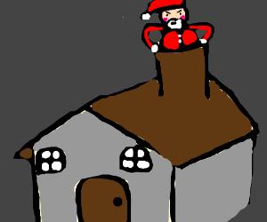 Santa gets stuck in a chimney