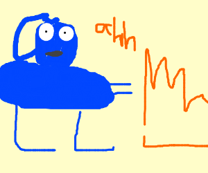 fat blue guy laughs at fire