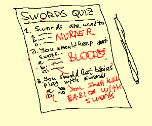 Terrible answers to a quiz about swords