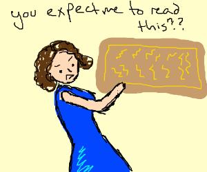 Woman Can't Read Lightning Heiroglyphics