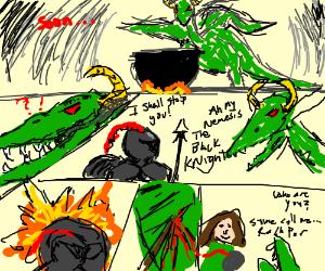 DCvet Th comic rachpar slays a evil dragon
