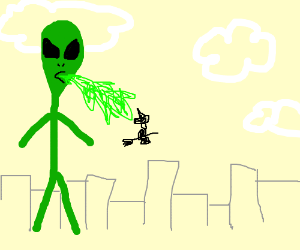 Giant alien spews on witch