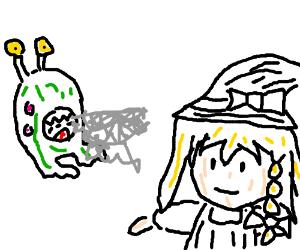 Giant green alien shoots ectoplasm at Marisa