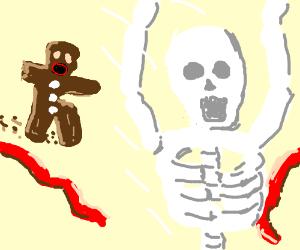 Skeleton wins race vs undead gingerbread man