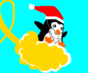 Penguin in Santa disguise rides a cloud