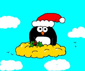 Santa Penguin rides on golden cloud.