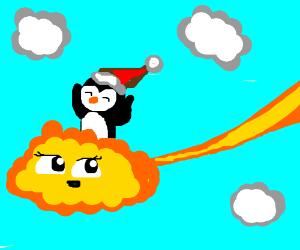 Santa penguin rides the Flying Nimbus