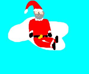 Santa on a block of ice in the Arctic Ocean