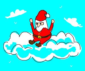 Santa on a cloud