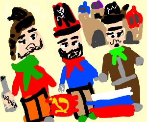 three russian men