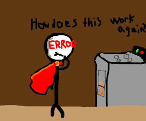 Error Man learns how to use a stove!
