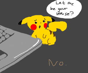 Pikachu is sadly rejected as a computer mouse.