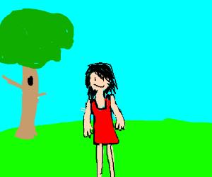 Girl enjoying a nice day in a field