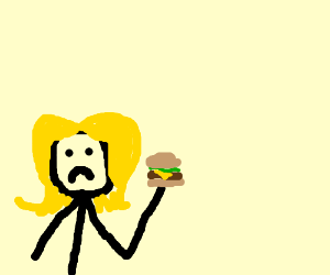 blonde girl is unhappy with her hamburger