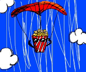 Rebellious pop corn bag goes parachuting.