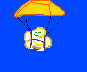 Popcorn skydiving with parachute