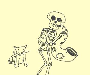 a skeleton plays saxophone