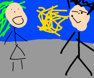 Girl sees floating noodles in front of the boy