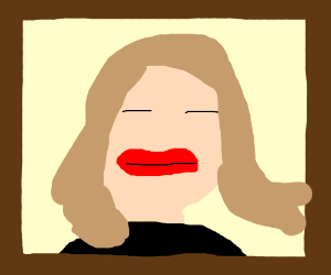 mona lisa with big red lips and closed eyes