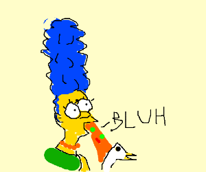 Blues haired woman vomiting on a duck