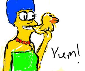 Marge Simpson Eats Duck
