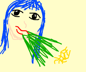 pretty bluehaired lady projectile vomits ramen