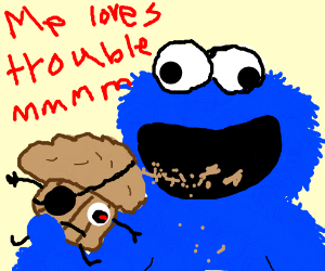 Cookie monster eats the Trouble Muffin