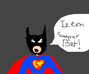 Superman and Batman merge to make... SUPERBAT!