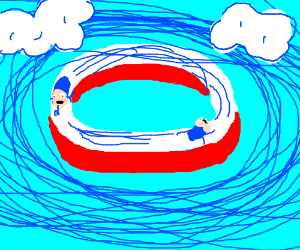 sonic whizzes by on red,white ring
