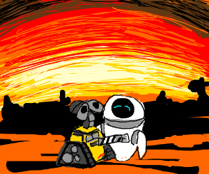 Wall-E embraces Eve during sunset