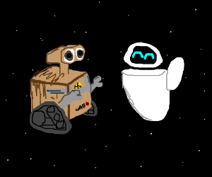 Walle and Eva meet IN SPACE
