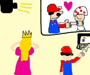 Mario use Powerpoint to come out to Peach as v