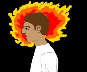 Man's head is on fire