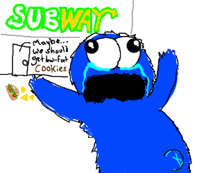 Cookie Monster on Subway. Not allowed cookies.