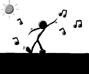 Stick man dancing to music