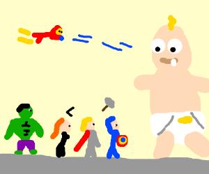 The Avengers battle giant baby