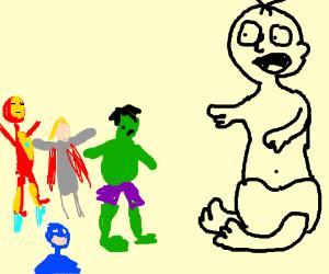 Avengers fighting giant baby