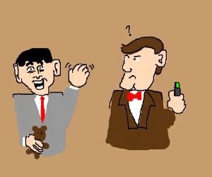 Mr Bean waves at 11.