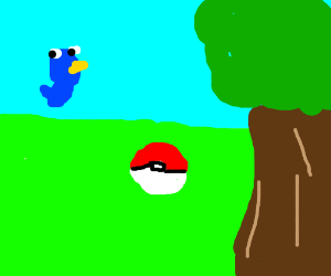 Blue bird and Pokemon ball