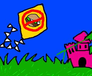 Flying anti-burger kite near pink-grass castle