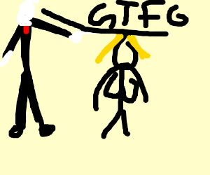 Slender man telling girl with front to gtfo